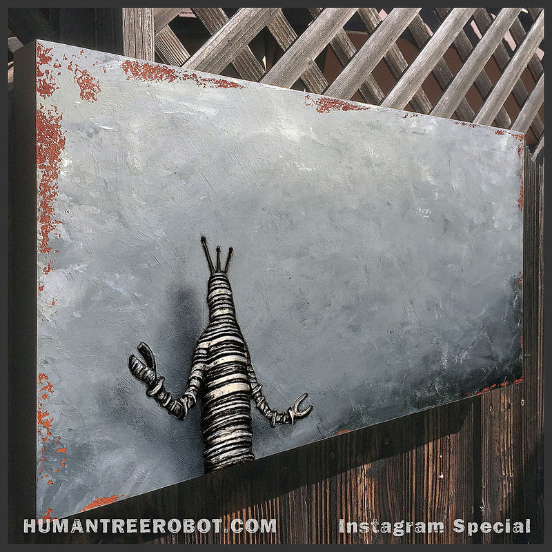 "IG-0022 - Instagram Special - Original Mixed Media Painting - 12x24 Inch ""Robot C Shadow"""
