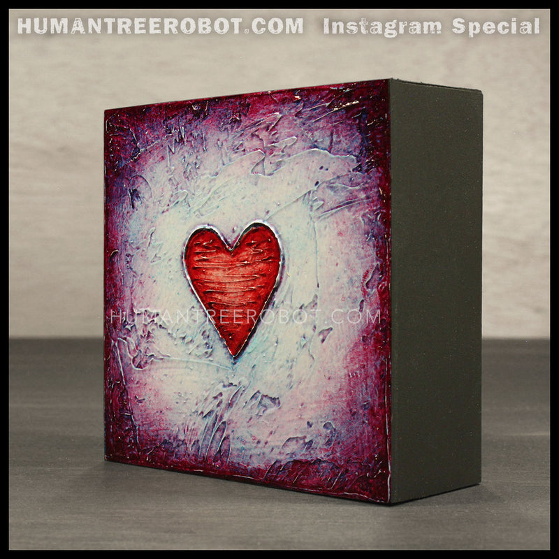 IG-0025 - Instagram Special - 4x4 Original Oil Painting - Heart Series - Red / Blue
