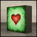 IG-0027 - Instagram Special - 4x4 Original Oil Painting - Heart Series - Red / Green