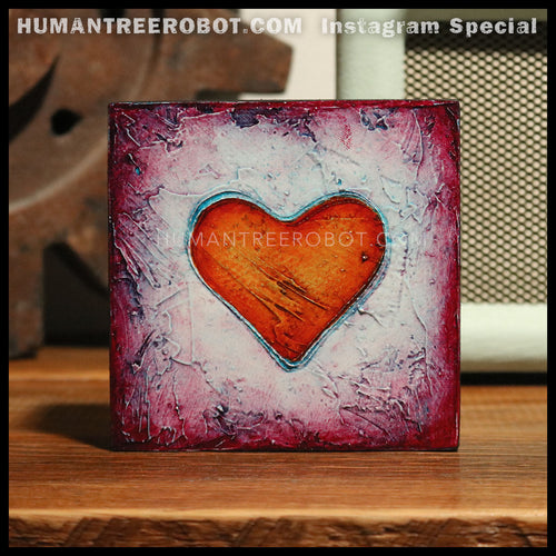 IG-0028 - Instagram Special - 4x4 Original Oil Painting - Heart Series - Orange / Blue / Red