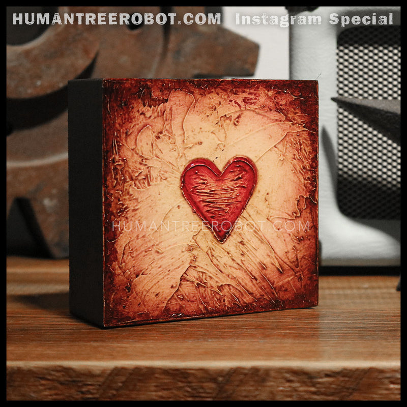 IG-0029 - Instagram Special - 4x4 Original Oil Painting - Heart Series - Red / Brown