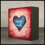 IG-0031 - Instagram Special - 4x4 Original Oil Painting - Heart Series - Blue / Red