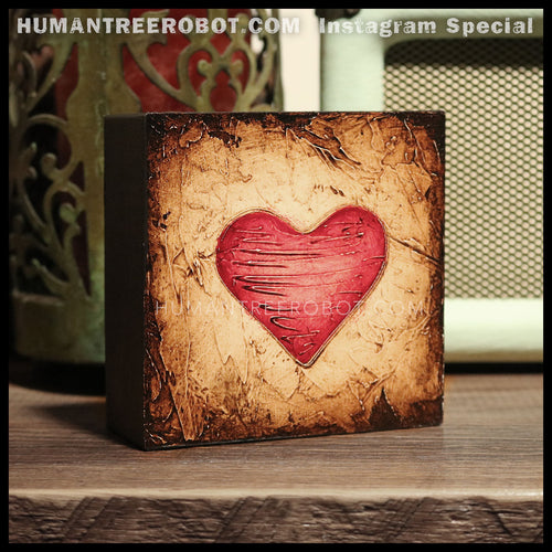 IG-0032 - Instagram Special - 4x4 Original Oil Painting - Heart Series - Red / Brown