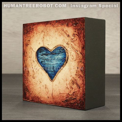 IG-0033 - Instagram Special - 4x4 Original Oil Painting - Heart Series - Blue / Brown