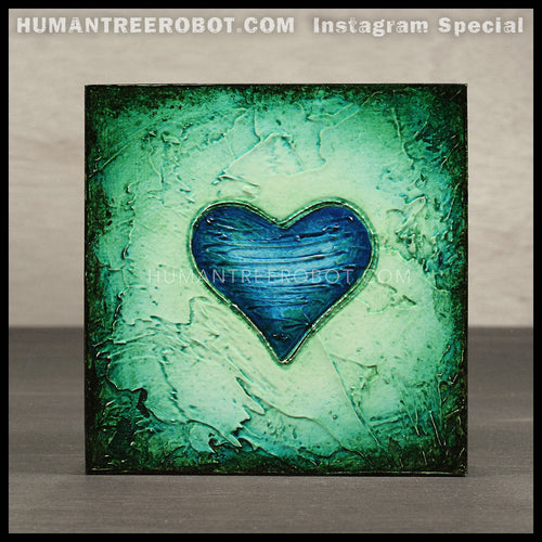IG-0034 - Instagram Special - 4x4 Original Oil Painting - Heart Series - Blue / Green