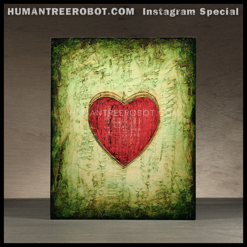 IG-0035 - Instagram Special - 8x10 Original Oil Painting - Heart Series - Red / Green