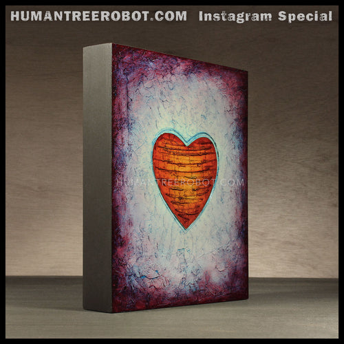 IG-0037 - Instagram Special - 8x10 Original Oil Painting - Heart Series - Orange / Blue