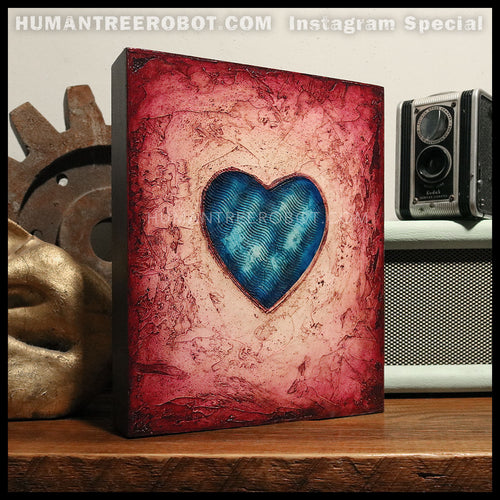 IG-0039 - Instagram Special - 8x10 Original Oil Painting - Heart Series - Blue / Red
