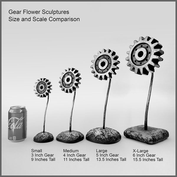 Sculpture: Gear Flower: 3 inch, Red