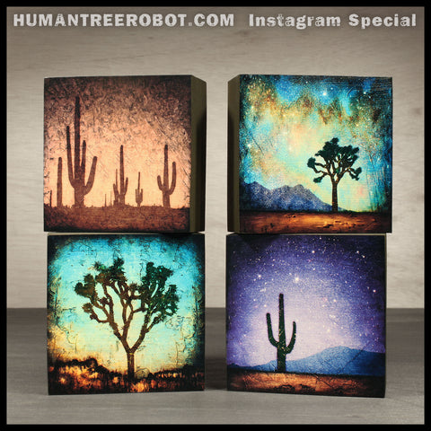 Instagram Special - 4x4 Wood Panel Print - 4 Piece Set - Desert Imagery