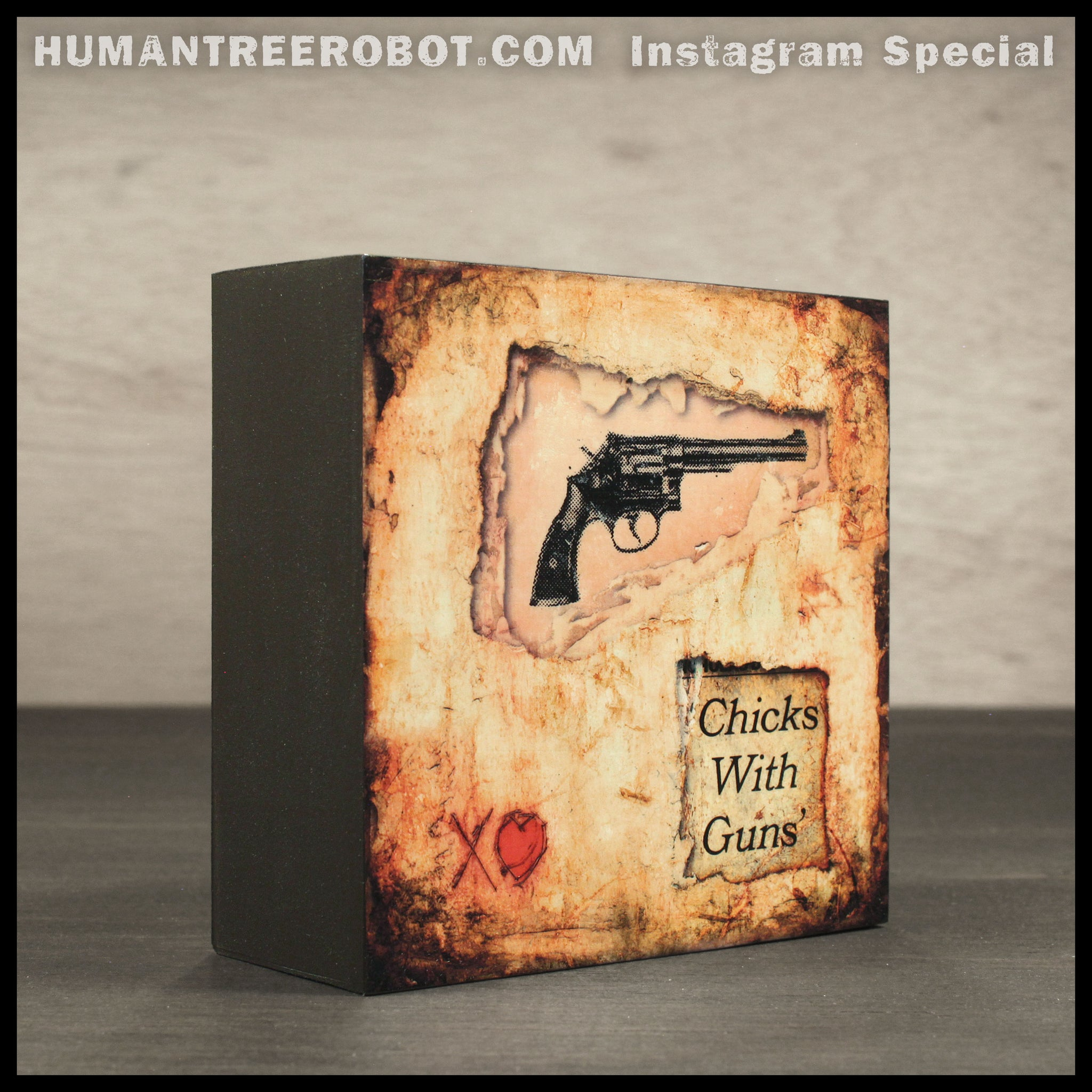 Instagram Special - 4x4 Wood Panel Print - Chicks With Guns