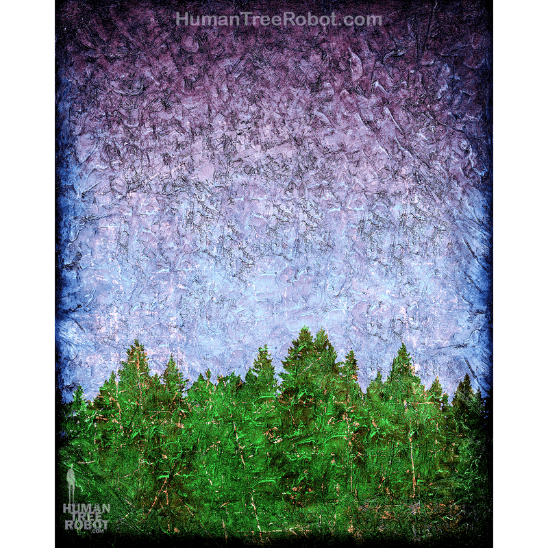 0071 Borderless Print - Tree Line 01 - Purple Green