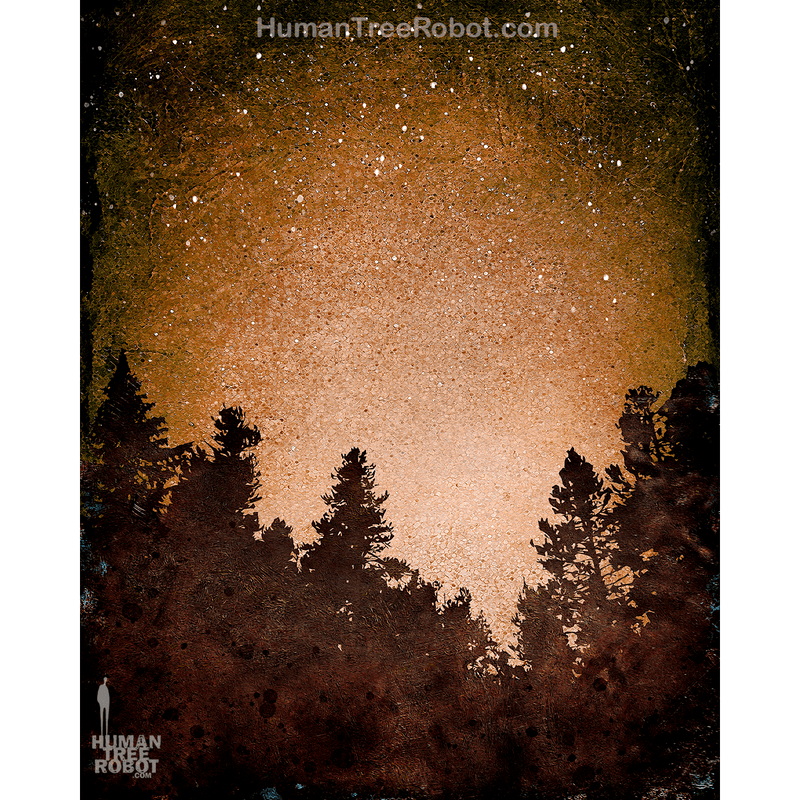 0073 Borderless Print - Tree Line 03 - Brown