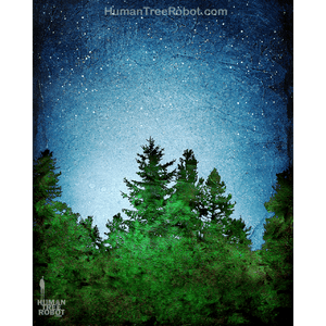 0074 Borderless Print - Tree Line 04 - Blue Green