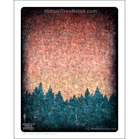 "0072 Matte Paper Print 8x10"" - Tree Line 02 - Orange Green"