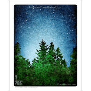 "0074 Matte Paper Print 8x10"" - Tree Line 04 - Blue Green"