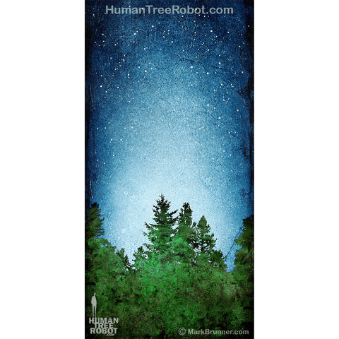 0074 Wood Panel Rectangle - Tree Line 04 - Blue Green