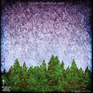 0071 Wood Panel Square - Tree Line - Purple Green