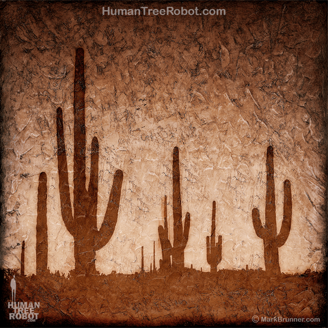 0075 Wood Panel Square - Desert - Cactus - Brown