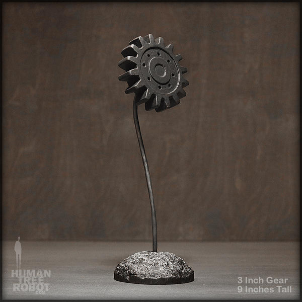 Sculpture: Gear Flower: 3 inch, Black