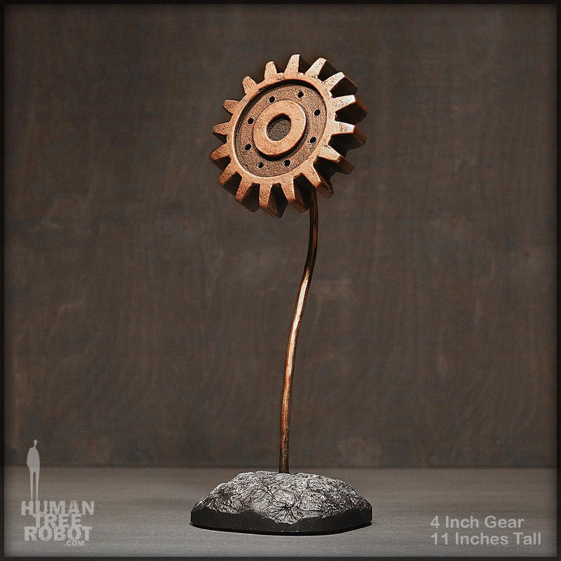 Sculpture: Gear Flower: 4 inch, Copper