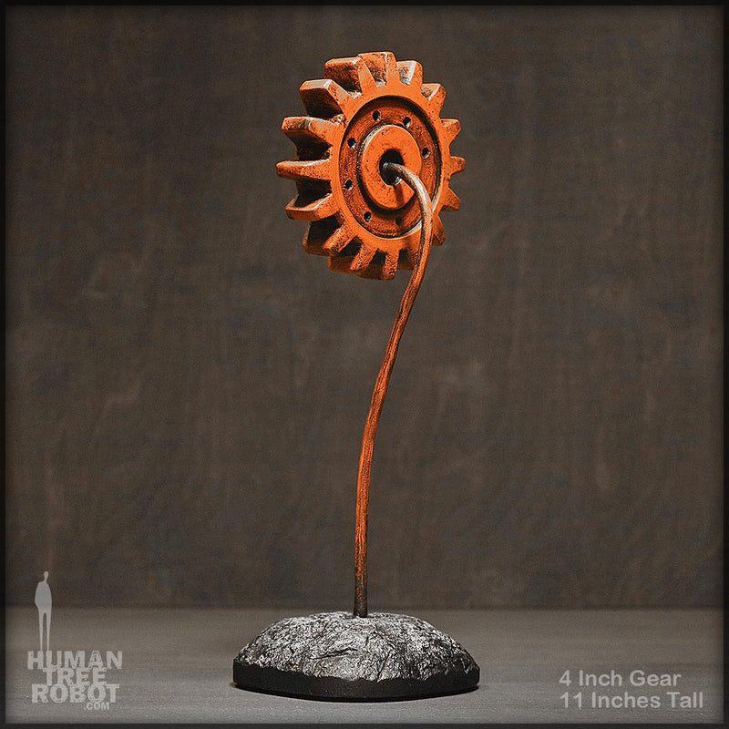 Sculpture: Gear Flower: 4 inch, Orange