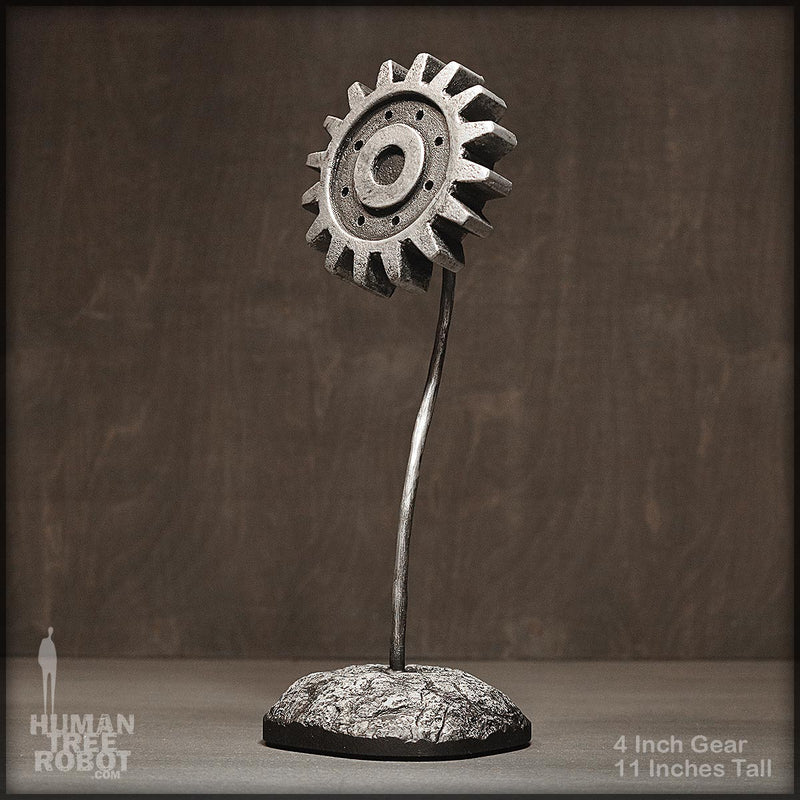 Sculpture: Gear Flower: 4 inch, Silver A