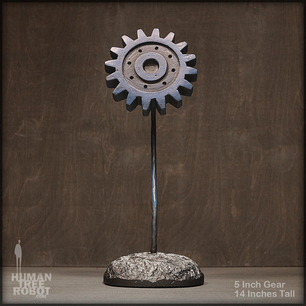 Sculpture: Gear Flower: 5 inch, Blue