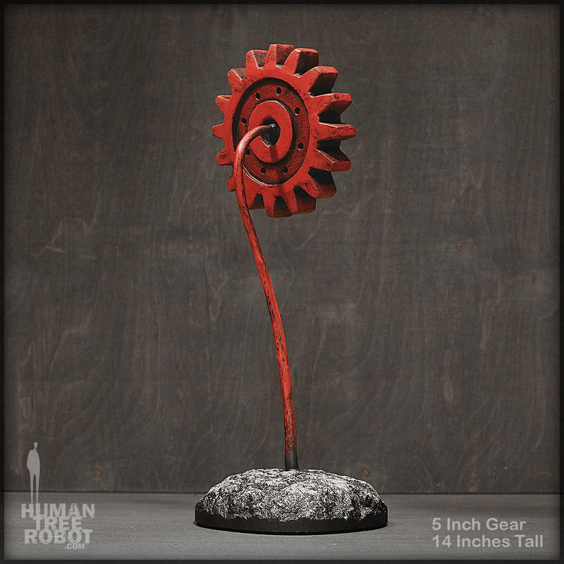 Sculpture: Gear Flower: 5 inch, Red