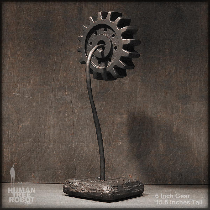 Sculpture: Gear Flower: 6 inch, Black