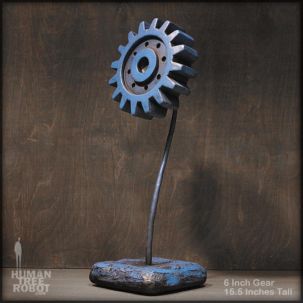 Sculpture: Gear Flower: 6 inch, Blue