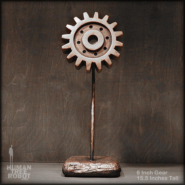 Sculpture: Gear Flower: 6 inch, Copper Wash