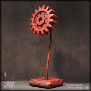 Sculpture: Gear Flower: 6 inch, Red