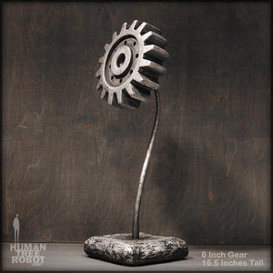 Sculpture: Gear Flower: 6 inch, Silver