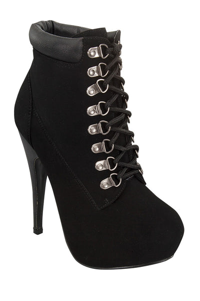 Ladies fashion military inspired ankle boot, closed almond toe, block stiletto heel, lace up closure, with grommets