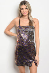 Ladies fashion sleeveless fitted multi color sequin dress that features a square neckline