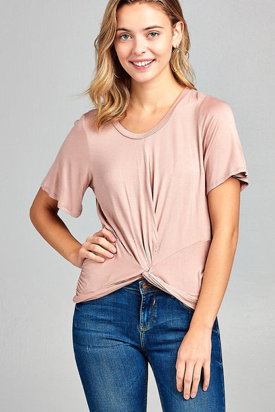 Ladies fashion short sleeve round neck front twisted rayon spandex top