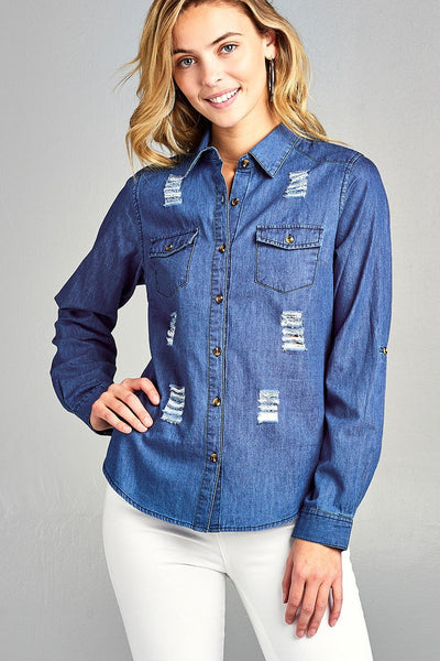 Ladies fashion 3/4 roll up sleeve distressed chambray shirts
