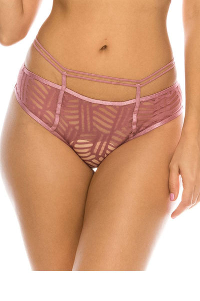 Ladies high waist jacquard mesh thong