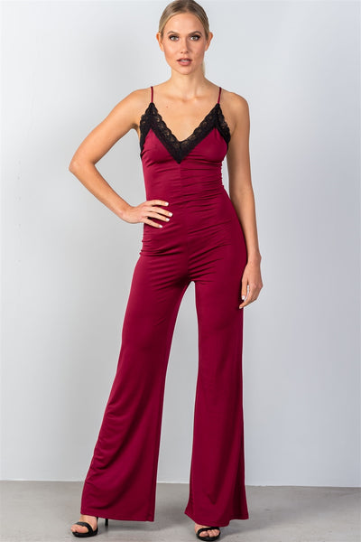 Ladies fashion wine & black lace trim neckline palazzo jumpsuit