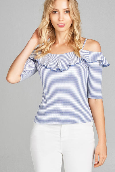 Ladies fashion elbow sleeve open shoulder w/ruffle stripe ribbed cotton spandex top