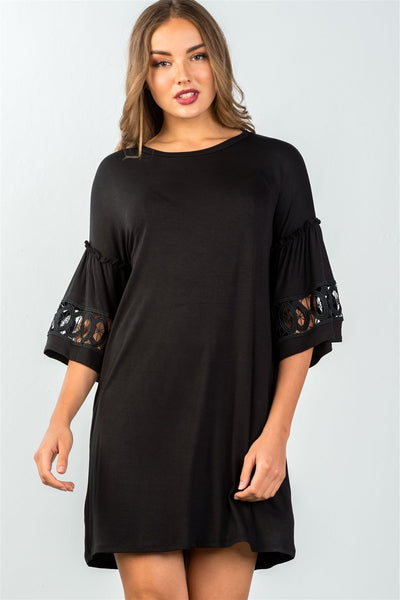 Ladies fashion 3/4 sleeve black crochet-trim gathered-sleeve mini dress