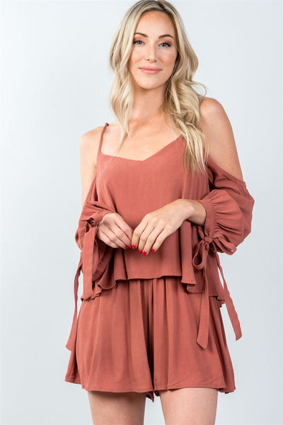 Ladies fashion tie long sleeve cold shoulder flounce romper