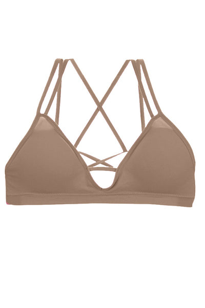 Ladies deep v-cut cageback design