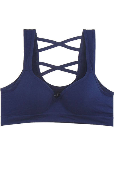 Ladies criss-cross w/underwire push-up molded cups