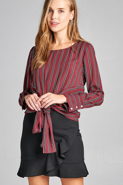 Ladies fashion long sleeve round neck front self tie multi stripe print woven top
