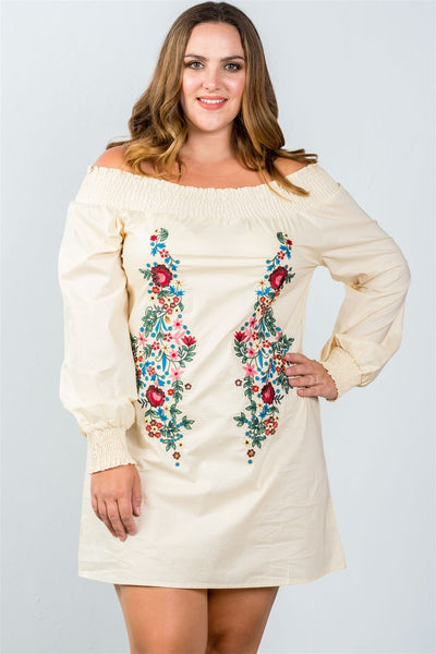 Ladies fashion plus size floral embroidered off the shoulder tunic dress