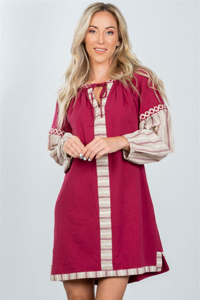 Ladies fashion bohemian stripe contrast sleeve mini dress