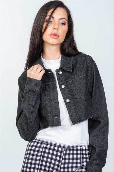 Ladies fashion black lace-up back denim crop jacket