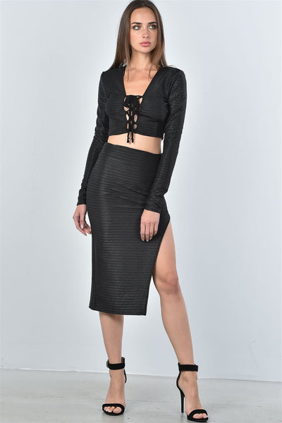 Ladies fashion black textured lace up top and high split midi skirt two piece set